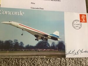 CONCORDE BRITISH AIRWAYS FLIGHT SIGNED COVER BY CAPTAIN ANTHONY MEADOWS 1/5