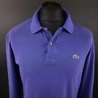 Lacoste Mens Polo Shirt 5 (LARGE) Long Sleeve Purple Regular No Pattern Cotton