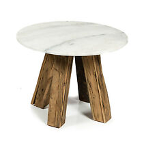 NEW 'CASA UNO' Cape Cod Natural Wood & Stone Round Side Table RRP $689.95