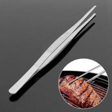 Kitchen Stainless Steel Long Straight Food Meat Tongs BBQ Tweezers Tool Clip JJ