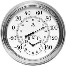 Round Outdoor Wall Clock Thermometer Galvanized Steel Case Wall Decor Glass Lens