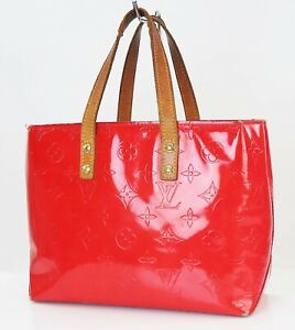 Authentic LOUIS VUITTON Reade PM Red Vernis Leather Tote Hand Bag Purse #40087