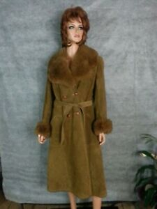 VTG 70s Brown Suede Leather Long Coat Heavy Shearling Collar Cuffs Hippy Boho M
