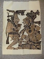 """Monochromatic Mayan Image Print on Cotton (Image measures 14"""" by 13"""")"""