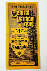 Summer 1885 Central Vermont RR Railroad Time Table Green Mountain Route Train
