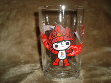 "Mcdonalds 2008 Beijing Olympic Glass Red Mascot HuanHuan 5"" tall"