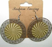 NEW METAL SILVER LACE FLORAL+GOLD TONE CIRCLE SPIRAL ROUND HOOK EARRINGS