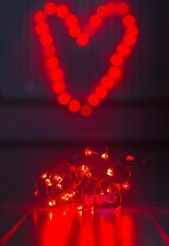 20 RED HEART Shaped LED AA Battery Fairy Lights Glamping Tent Romantic Lights