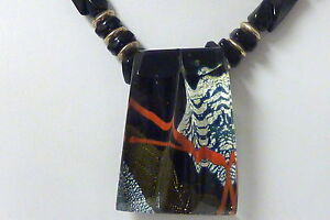 """VIintage1989 handcrafted Art Glass Multi Color Onyx Necklace ENGLSBY 18""""  I-3494"""
