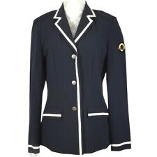 Lauria Garrelli Button Front Riding Jacket Navy Womens Large Nautical Equestrian