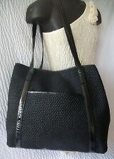 Vintage Bottega Veneta Woven Jute & Patent Leather Handbag Tote