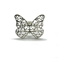 Filigree Sterling Silver Ring Butterfly Solid Hallmarked 925 Handmade