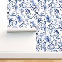 Removable Water-Activated Wallpaper Blue And White Blue Chinoiserie Chinoiserie