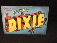 1940's Unused Linen Postcard Greetings From Down In Sunny Dixie