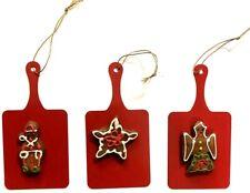 Set Of 3  Vintage Gourmet Christmas Metal Ornaments Cookies On Red Cookie Sheet