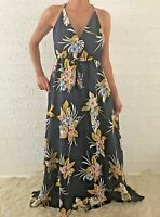 Women's Sleeveless Navy Floral Boho Summer Maxi Long Casual Dress Size 12-14-16