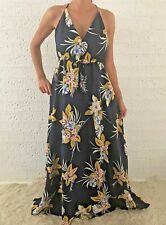 Women's Sleeveless Navy Floral Boho Summer Maxi Long Casual Dress Size 12-14-16