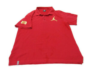 Nike Shirt Red Short Sleeve Air Jordan Jumpman 23 Cotton Polo Mens Size L 404399
