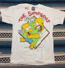 vtg 1990 Homer choking Bart Simpson white T SHIRT mens S SMALL NEW NWT Simpsons