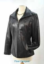 AVANTI WOMEN'S  black SOFT LEATHER COAT JACKET BIKER Zip up Moto crop SIZE M VTG