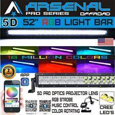 No.1 5D 52Inch 700W RGB Led Light Bar Spot Flood Offroad Jeep UTV RZR 4WD SUV