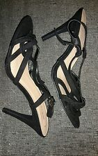 Size 7 New Look Black Strappy High Heel Shoes Ladies/Party/Wedding/UK/Women's