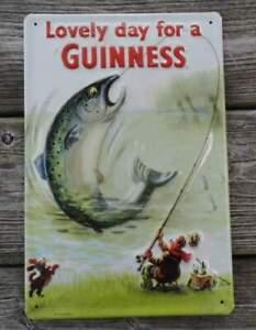 Blechschild erhaben: Lovely Day for a Guiness - für Fischer und Angler -20x30 cm