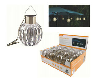 2 X DECO STYLE HANGING SOLAR BALL LIGHT KINGAVON GARDEN LIGHTS