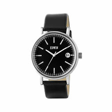 Edwin EPIC Men's 3 Hand-Date Watch, Stainless Steel Case with Black Leather Band