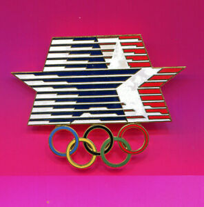 """1984 OLYMPIC PIN SUPER LARGE STARS IN MOTION 3.25 X 2.5"""" OVERSIZE PIN RARE"""