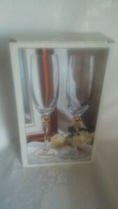 Home Essentials GOLD HEARTS Set Of 2 Champagne Flutes NIB