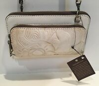 Patricia Nash Andria Tooled Leather Purse Convertible Crossbody Clutch Bag RARE