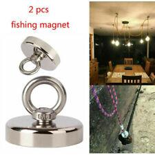 2pcs Fishing Magnet Pull Force Heavy Duty Strong Neodymium Treasure Max 6kg 14lb