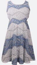 Bonnie Jean Big Girl's Striped Lace Skater Dress-Size-12-Blue, Grey & White
