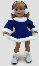 Royal Blue Velour Skating Dress & Earmuffs for 18 inch American Girl Dolls