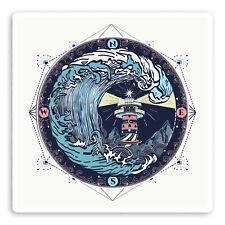 2 x 10cm Ocean Lighthouse Vinyl Stickers - Wave Compass Laptop Sticker #20806