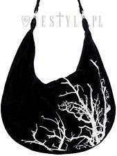 6653d7e557ac Restyle White Branches Sack Bag Velvet Hobo Tree Embroidery Handbag Goth  Witch