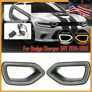 For 2015-19 Dodge Charger SRT Scat Pack Grille Smoke LED Lights White DRL Yellow