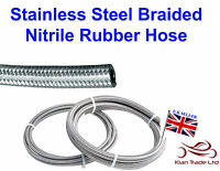 "3/8"" Stainless Steel Braided RUBBER Fuel line Oil Desial Patrol Hose x 1 Metre"