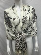 100% PASHMINA FLOWER LEOPARD PRINT DESIGN SCARF WRAP ALL SEASON BROWN GRAY