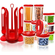 25 pc Food Storage Container Set W/ Rotating Rack - Twist 2 Seal Food Caddy Box