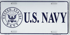 """U.S. Navy Emblem Seal White and Blue 6""""x12"""" Aluminum License Plate made in USA"""