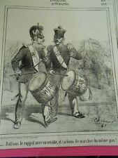 Caricature 1865 - Tambours battons le rappel ensemble