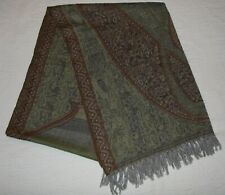 "Jamawar Shawl Paisley 100% Wool India - Gently Used 28"" X 80"""
