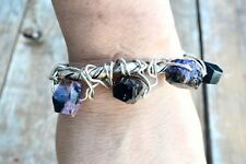Sterling Silver Rustic Charoite 925 Bracelet Cuff Primitive Tribal Natural 925