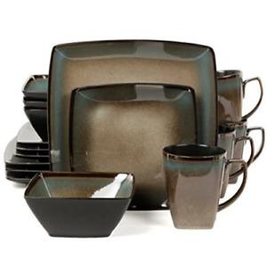 16 Piece Square Dinnerware Set - Gibson Tequesta, Taupe
