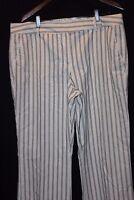 TOMMY HILFIGER Ivory w/ Black Threaded Classy Pinstripe Flat Front Pants EUC 16