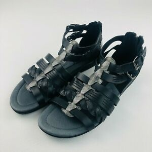 Planet Shoes Womens 10 US Leather Gladiator Sandals Shoes Flats Black Bombay