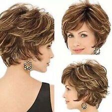 Fashion sexy Women's ladies short Brown mixed Natural Hair full wigs + wig cap