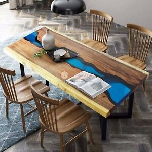 Blue Resin Handmade Epoxy River Blue Acacia Wood Dining Table Office & Home Deco